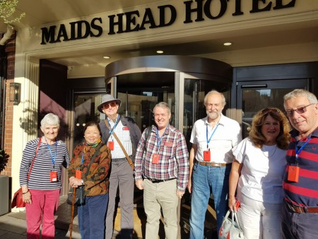 Members assemble outside Maid's Head Hotel